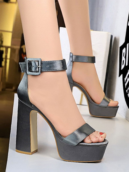 Milanoo Sexy Sandals For Woman Black Satin Round Toe Chunky Sandals