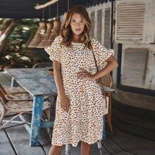 Dalmatian Print Flounce Sleeve Smock Dress