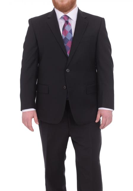 Solid Black Mens NotchLapel Portly Fit Two Button Super 130s Wool Suit