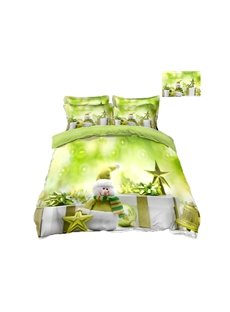 Tiny Snowman and Stars Printing Green 4-Piece 3D Bedding Sets/Duvet Covers