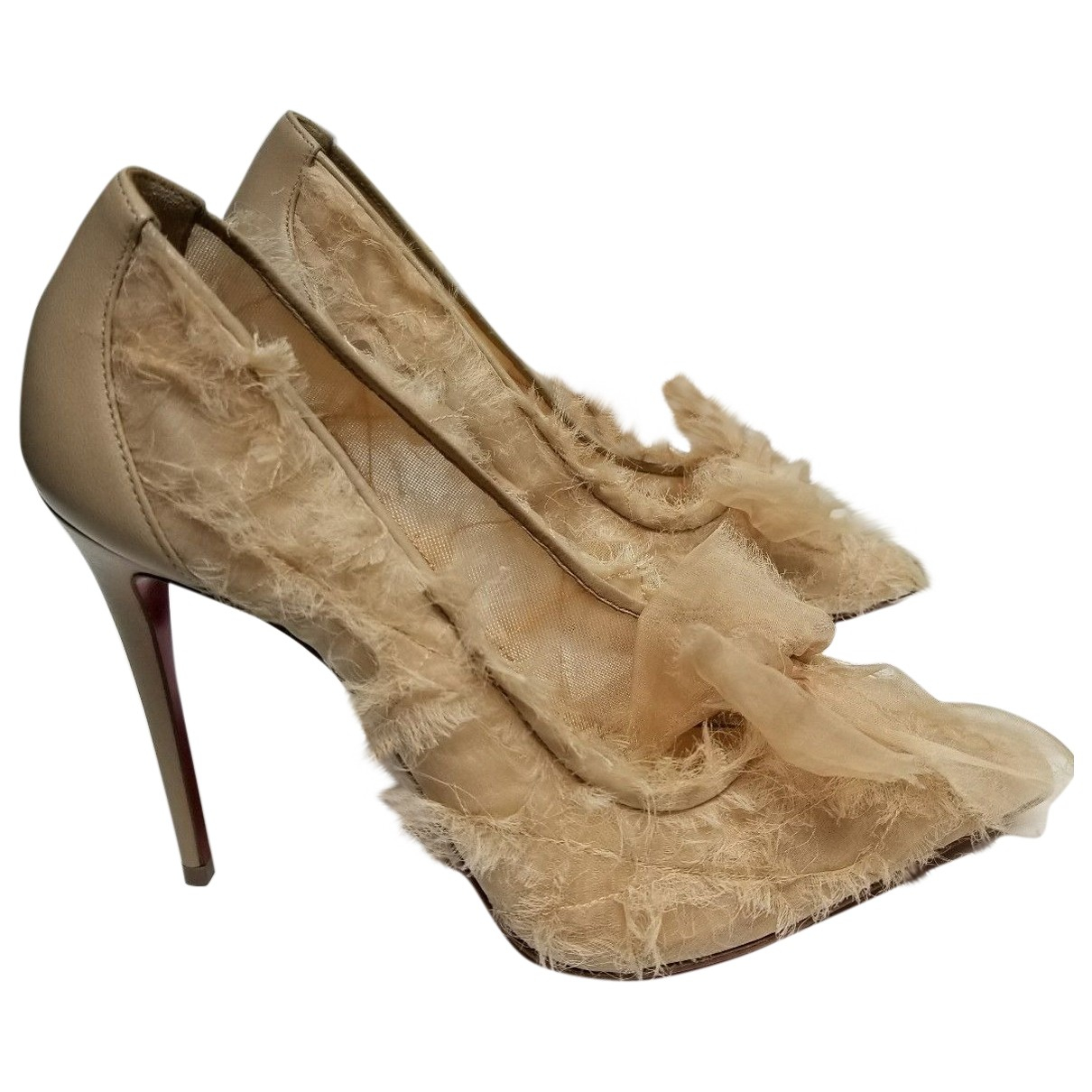 Christian Louboutin \N Beige Cloth Heels for Women 41 EU