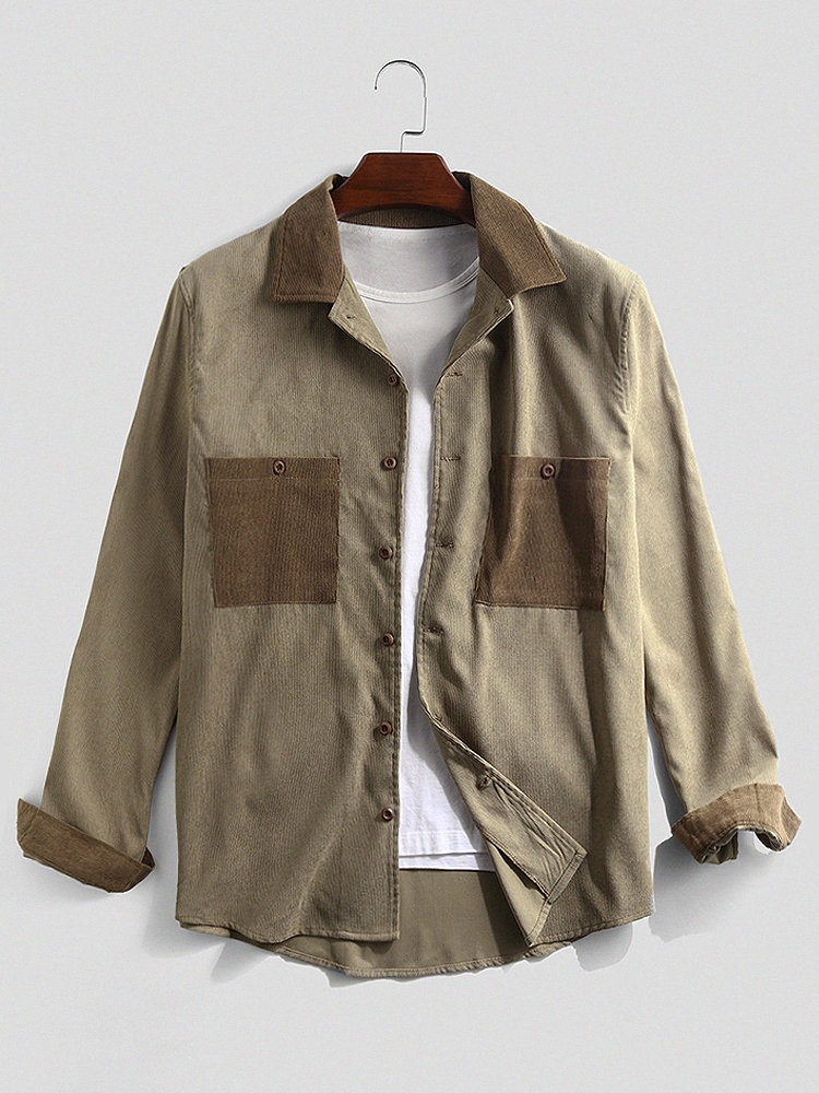 Mens Corduroy Patchwork Double Chest Pockets Long Sleeve Shirts