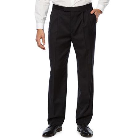 Stafford Pleated Tuxedo Pants, 32 34, Black