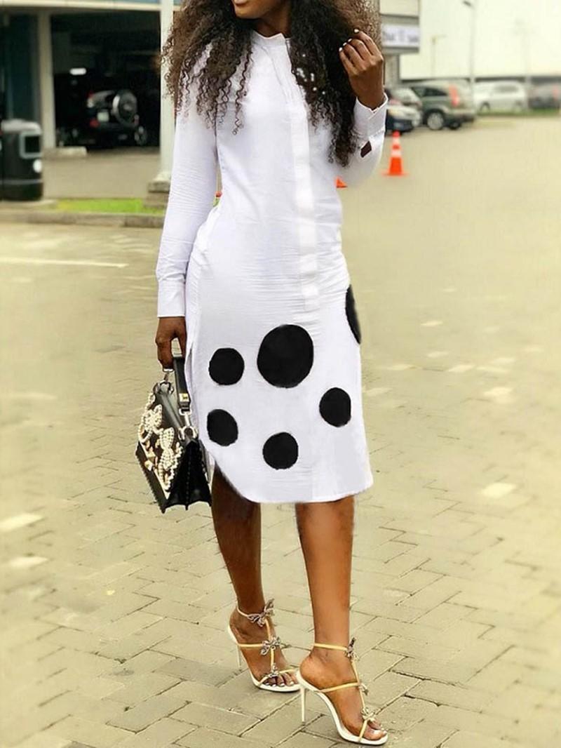 Ericdress Mid-Calf Polka Dots Print Going Out A-Line Dress