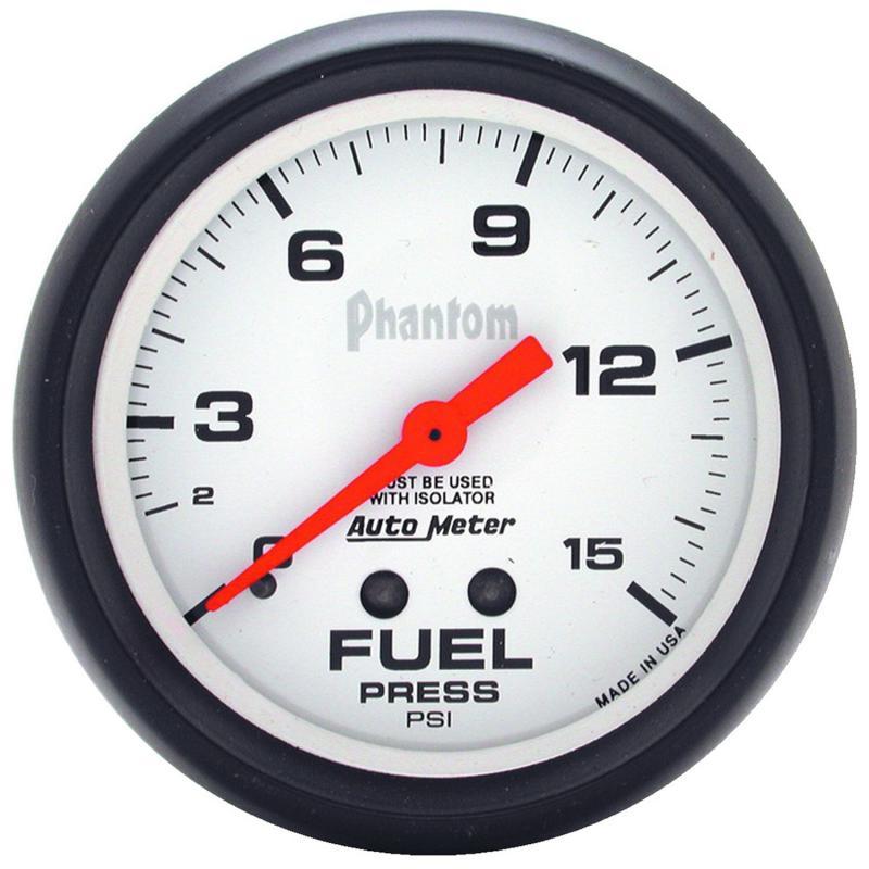 AutoMeter GAUGE; FUEL PRESSURE; 2 5/8in.; 15PSI; MECHANICAL W/ISOLATOR; PHANTOM