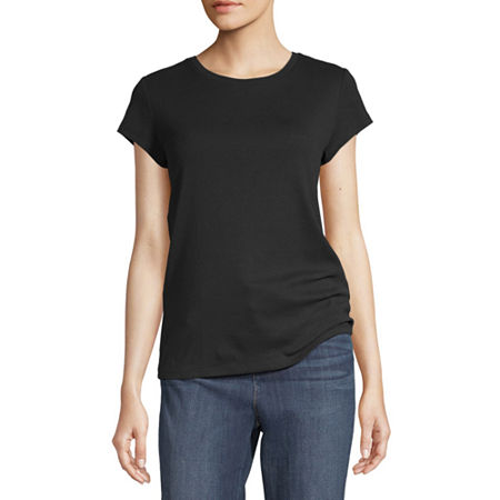 Liz Claiborne-Womens Crew Neck Short Sleeve T-Shirt, Large , Black