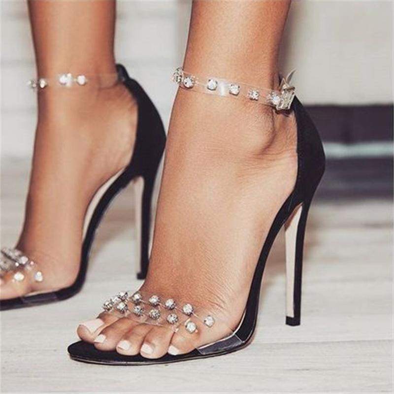Ericdress Rhinestone Patchwork Stiletto Heel Sandals