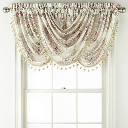 JCPenney Home Hilton Medallion Rod-Pocket Waterfall Valance, One Size , No Color Family