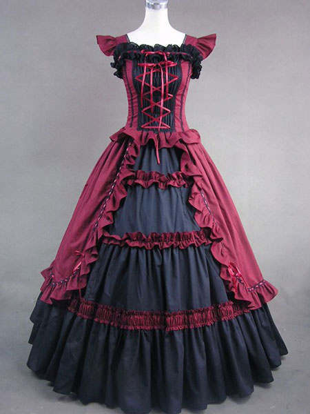 Milanoo Victorian Dress Costume Women's Dark Red Cotton Ruffle Short Sleeves Ball Gown Retro Victorian era clothing Halloween
