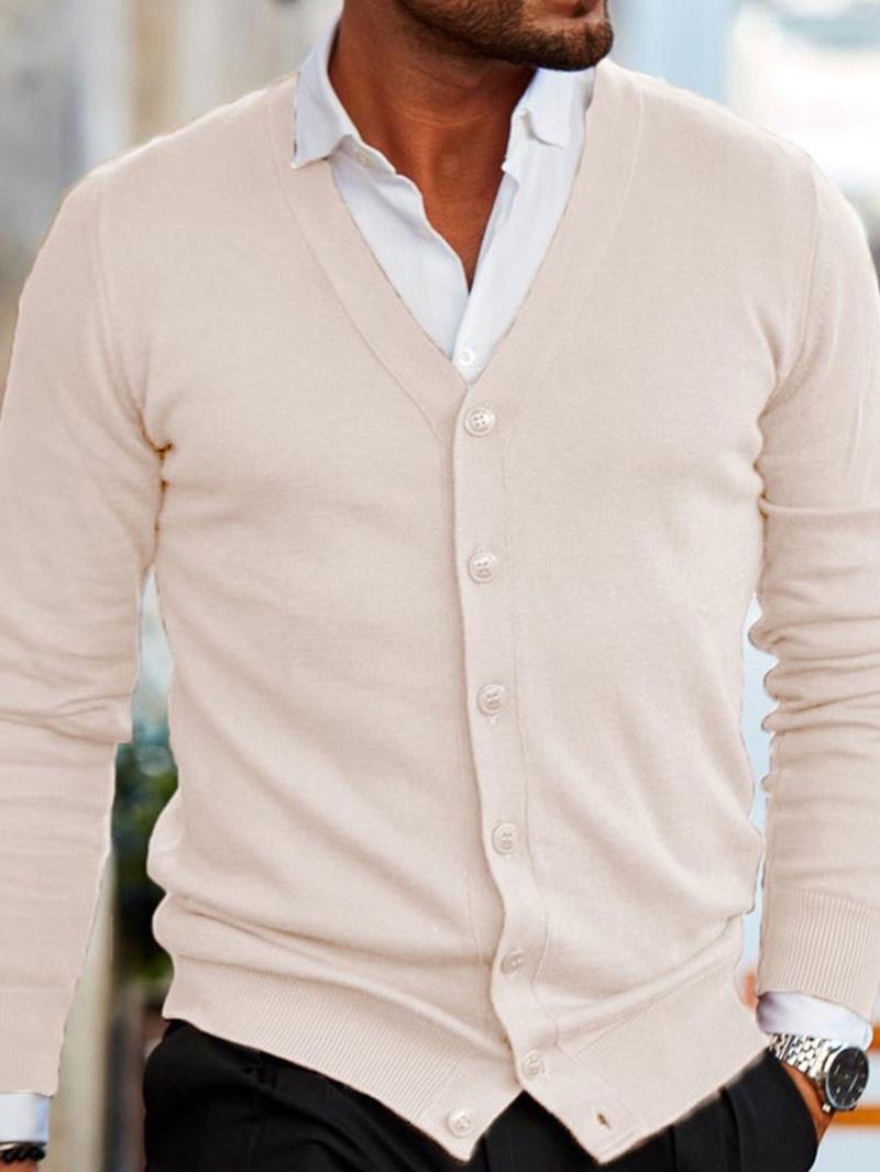 Ericdress Plain V-Neck Standard Casual Fall Men's Sweater