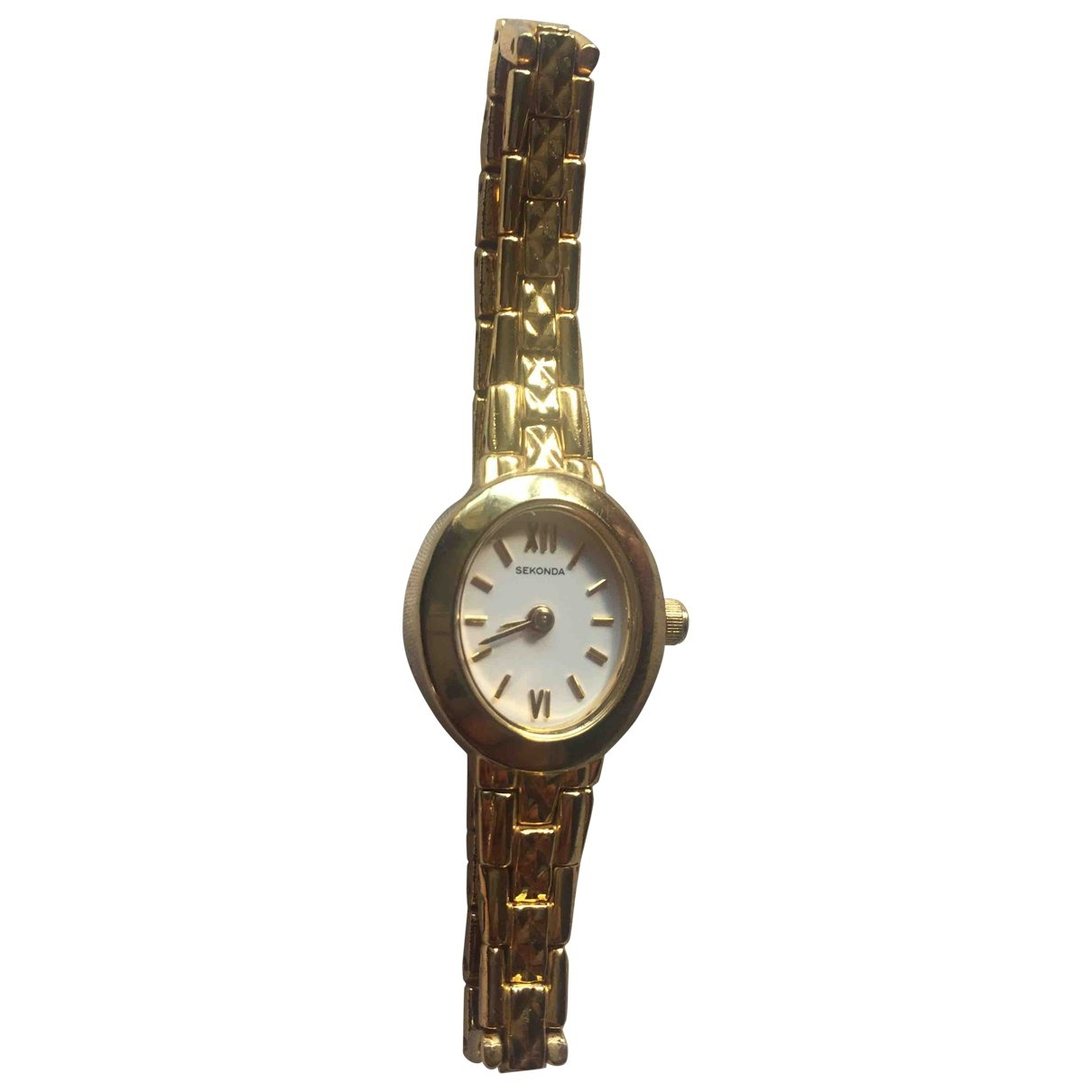 Non Signé / Unsigned \N Gold Steel watch for Women \N