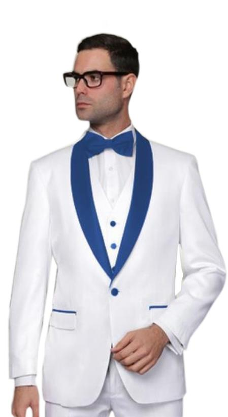 Alberto Nardoni White and Royal Blue Collar 3PC Wool 1 button suit