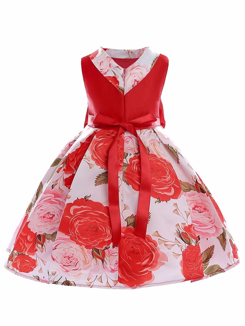 Ericdress Floral Print Patchwork Ball Gown Girl's Dress