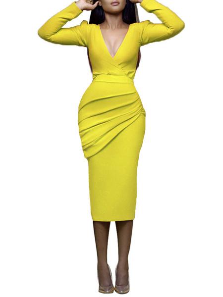 Milanoo Bodycon Dresses Yellow Long Sleeves Pleated Sexy V-Neck Body-conscious Dress Sheath Dress