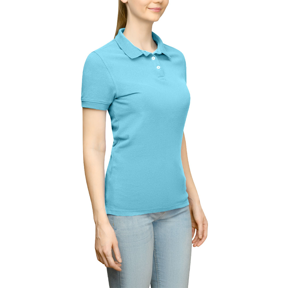 Page & Tuttle Solid Jersey Polo Golf Shirt Blue- Womens- Size S