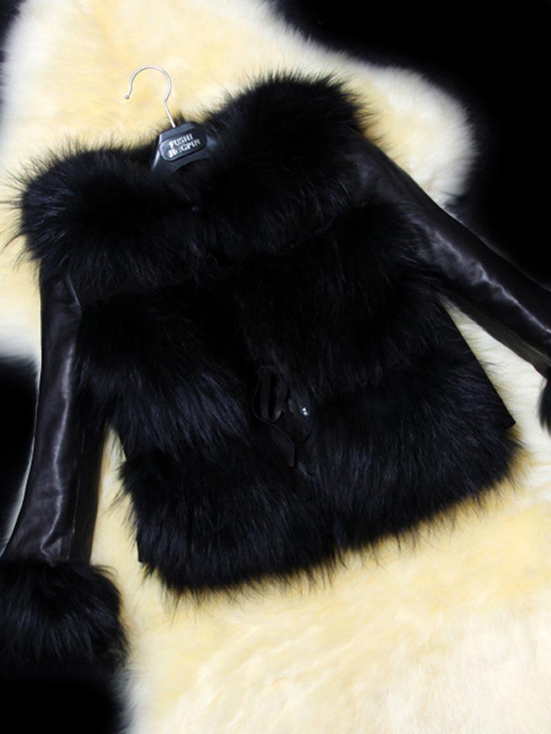 Ericdress Short Leather Faux Fur Patchwork Coat