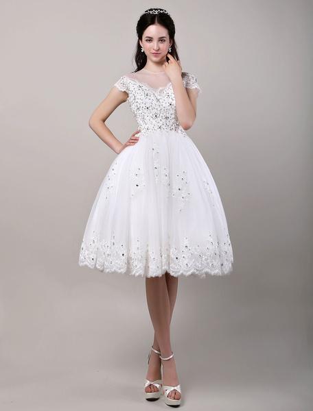 Milanoo A-Line/Princess Illusion Neckline Beading Knee-Length Reception Wedding Dress