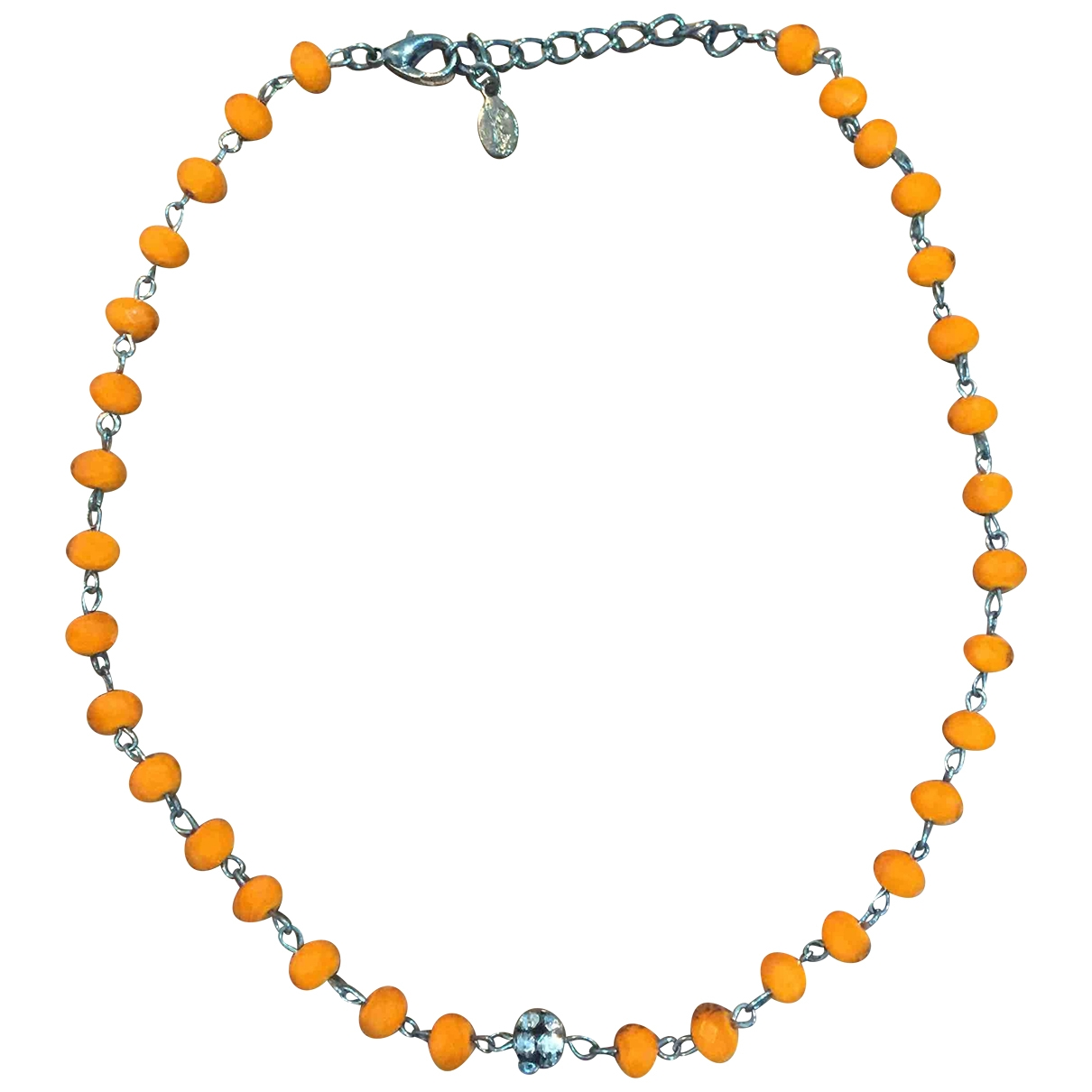Non Signé / Unsigned \N Orange necklace for Women \N