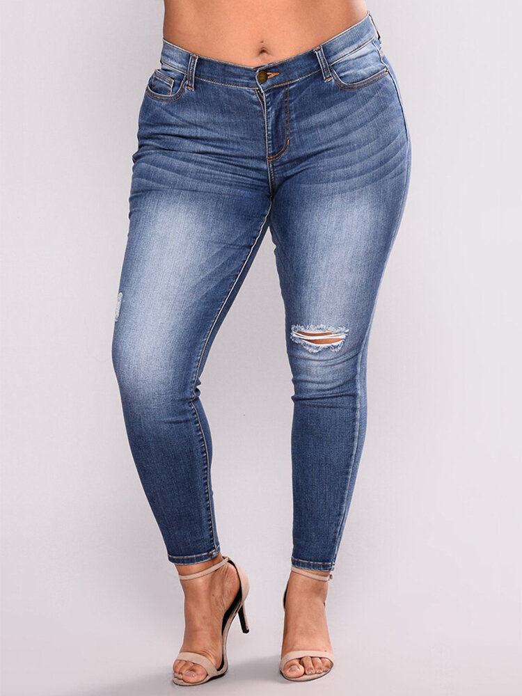 Demin Straight Ripped Plus Size Pants