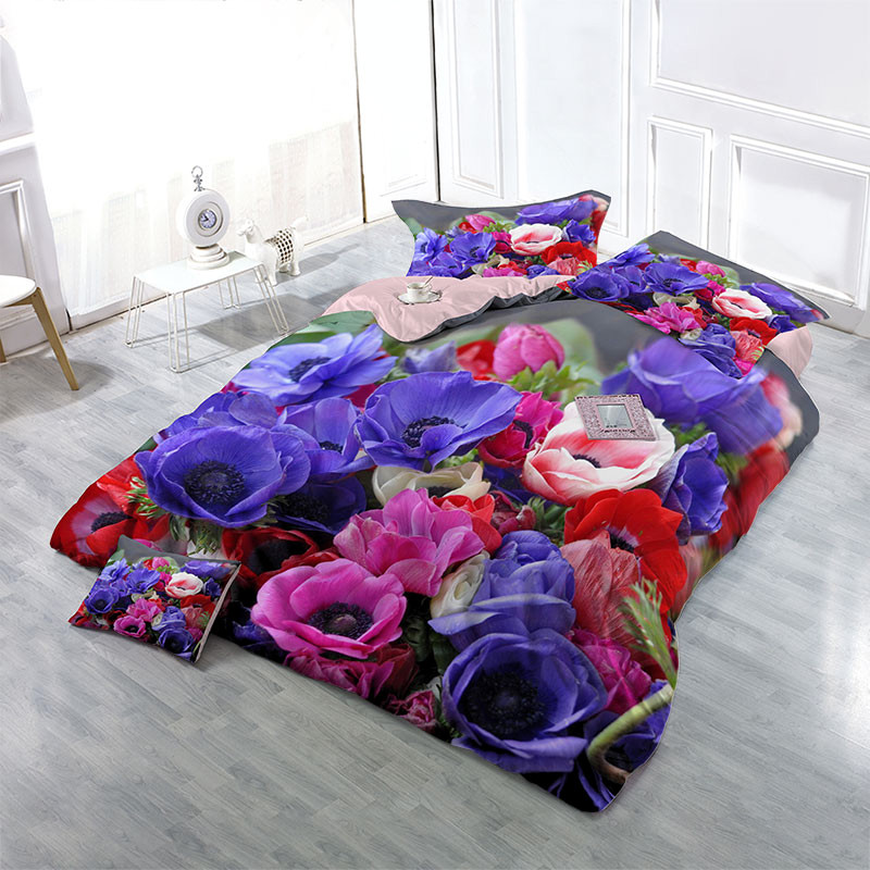Popular Colorful Flowers Wear-resistant Breathable High Quality 60s Cotton 4-Piece 3D Bedding Sets