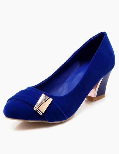 Milanoo Stylish Round Toe Velvet Mid-Low Heels For Women