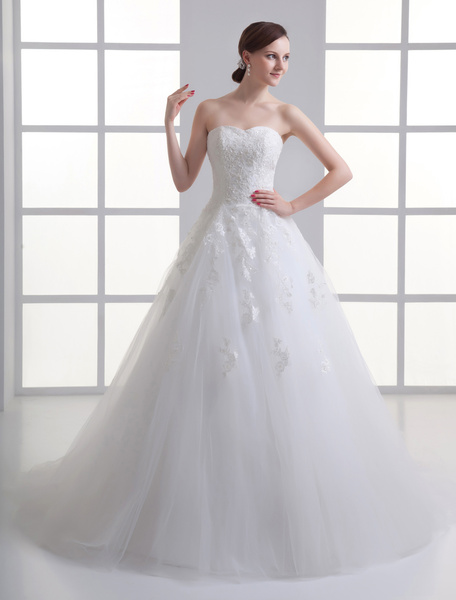 Milanoo Ivory Sweetheart Neck Strapless Beading Net Wedding Dress