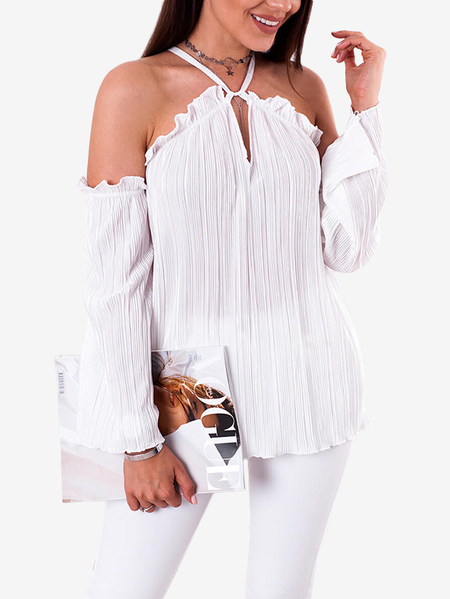 Yoins White Sheer Halter Cold Shoulder Long Bell Sleeves Blouses