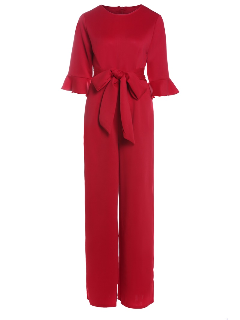 Ericdress Lace-Up Ruffles Wide Legs Jumpsuits Pants