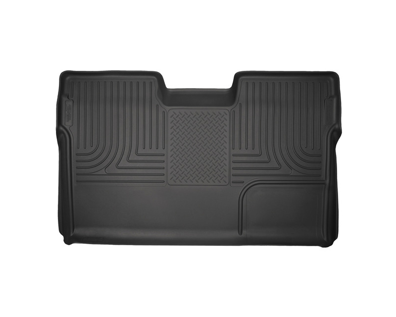 Husky Floor Liners 2nd Seat (Full Coverage) 09-14 Ford F-150 SuperCrew No Manual Transfer Case Shifter WeatherBeater-Black