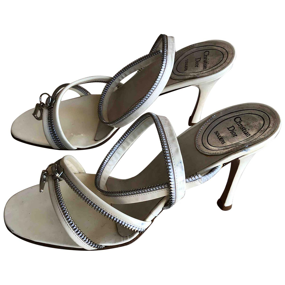 Christian Dior \N White Patent leather Sandals for Women 37.5 EU