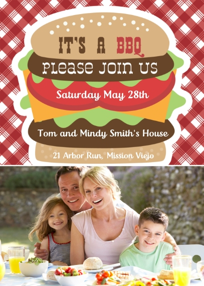 Party Invitations 5x7 Cards, Premium Cardstock 120lb with Rounded Corners, Card & Stationery -Picnic Plaid
