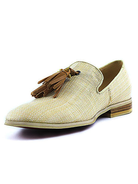 Milanoo Beige Men Loafers 2020 Canvas Square Toe Slip On Shoes Dress Shoes With Tassels