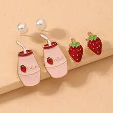 3pairs Strawberry Shaped Stud Earrings
