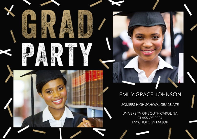 Graduation Invitations 5x7 Cards, Premium Cardstock 120lb, Card & Stationery -Grad Party Scattered Confetti by Tumbalina