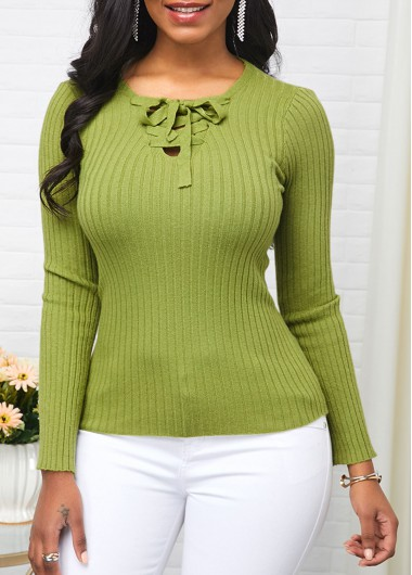 Women'S Light Green Long Sleeve Tie Front Casual Sweater Solid Color Pullover Jumper By Rosewe - XL