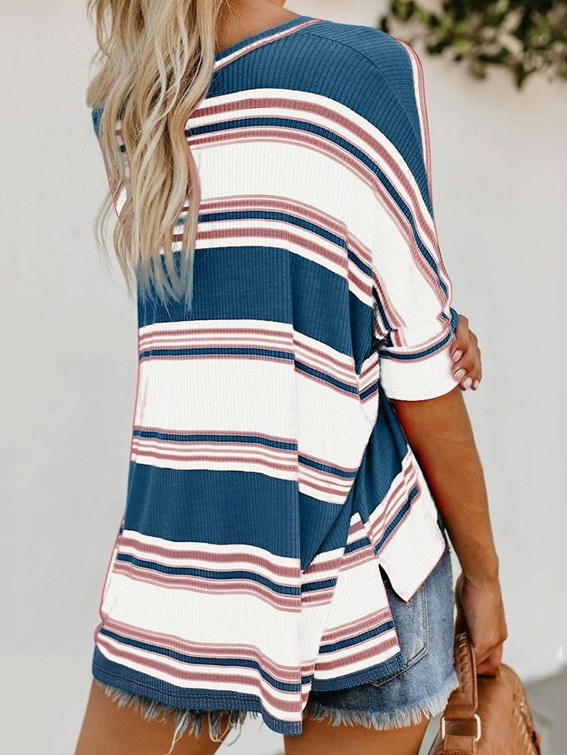 Ericdress Stripe Round Neck Mid-Length Loose Casual T-Shirt