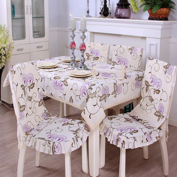 Delicate Polyester Embroidery Purple Flower Dining Room Decoration Tablecloth