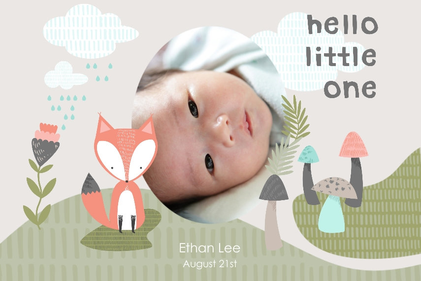 Baby + Kids 20x30 Adhesive Poster, Home Décor -Little Fox