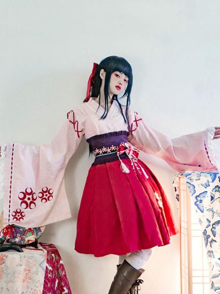 Milanoo Wa Lolita OP Dress Sakura Print Frill Bow Pink Kimono Lolita One Piece Dress Original Design