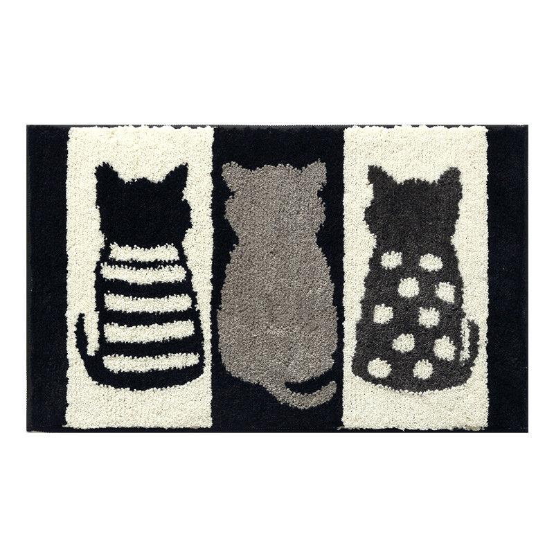 45*65/50*80cm Cartoon Cat Back Plush Carpet Anti-slip Floormat Bathroom Kitchen Water Absorbent Rug