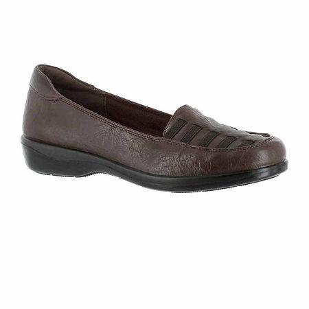 Easy Street Womens Genesis Slip-On Shoe, 11 Wide, Brown