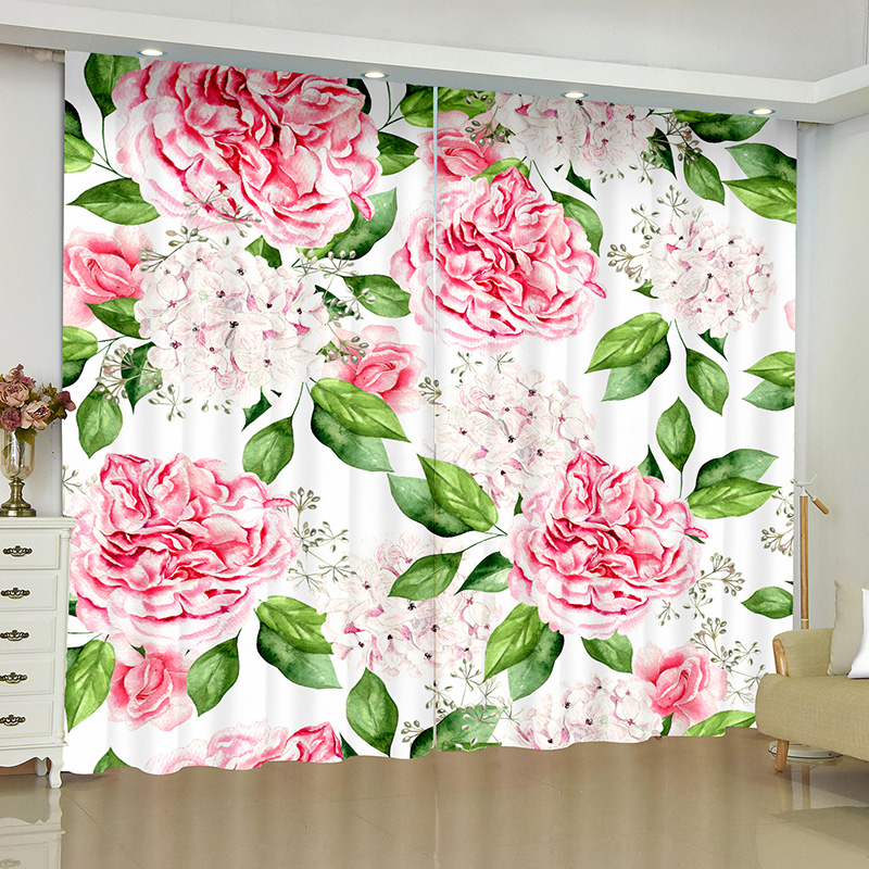 3D Floral Printed Blackout Decoration 2 Panels Curtain Drapes for Living Room No Pilling No Fading No off-lining