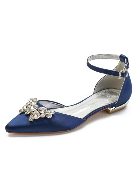 Milanoo Wedding Shoes White Satin Rhinestones Pointed Toe Flat Bridal Shoes