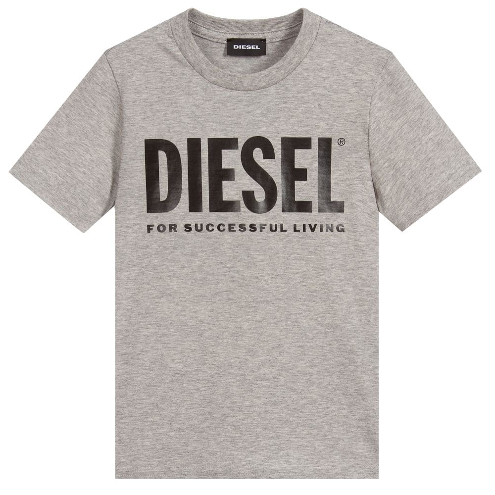 Diesel Grey Cotton T-shirt Colour: GREY, Size: 16 YEARS