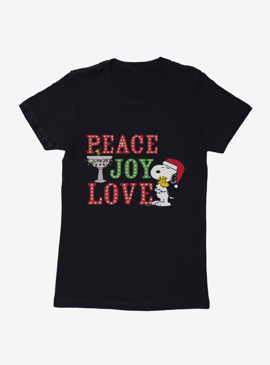 Peanuts Christmas Peace Joy & Love Snoopy Woodstock Womens T-Shirt