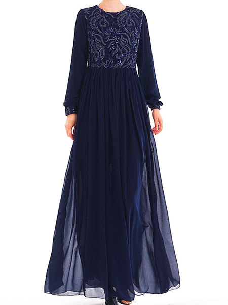Milanoo Muslim Evening Dress Long Sleeve Embroidered Arabian Clothing
