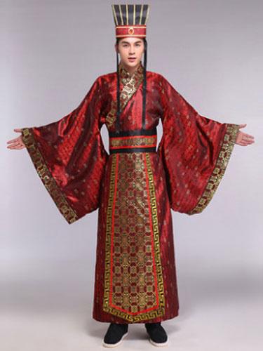 Milanoo Halloween Chinese Costume Fancy Dress Han Ancient Emperor Costume Men's Gown Set In 3 Piece