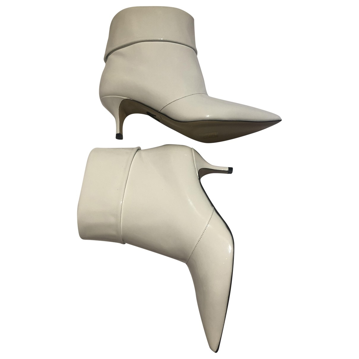 Paul Andrew \N White Patent leather Ankle boots for Women 35.5 EU