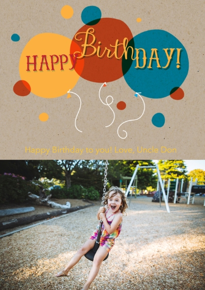 Kids Birthday Party Flat Matte Photo Paper Cards with Envelopes, 5x7, Card & Stationery -Happy Birthday Balloons