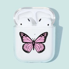 1pc Butterfly Print Clear AirPods Case